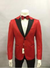 Red and Black Lapel Two Button Dress Suit