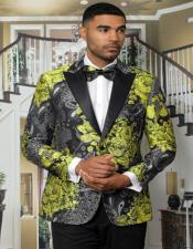 Mens Paisley Yellow ~ Gold And Black Floral Tuxedo Jacket + Matching