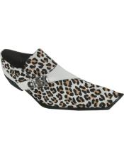 Mens Leopard - Animal Print  Leather Monkstrap Square Toe Black &