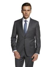 Mens Solid Medium Grey Suit