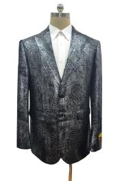 Print Crocodile Gator Snake Skin Jacket Coat  Big and Tall  Mens Blazer Sport Coat Black