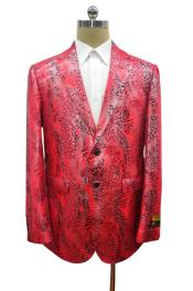 Mens Red Two Button  Alligator Jacket