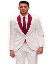 White and Burgundy Tuxedo Suit Vested Three Piece Burgundy Suit