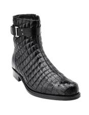 Authentic Genuine Skin Italian Libero Mens Black Alligator Trim Quilt Boots