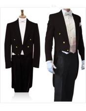 With Brass Gold Buttons Super 150S Peak Tailcoat Tuxedo Jacket With