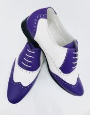 Blue Leather Wing Tip Oxford Lace up Shoe