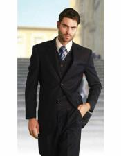 Solid Navy Athletic Cut Classic Suits