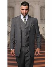 Gray Athletic Cut Classic Suits Mens suit