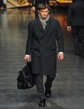 Wool Charcoal Grey Double breasted Overcoat By Alberto Nardoni