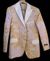 Prom and Wedding White and Gold ~ Yellow Tuxedo Fashion Jacket
