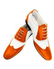 Dress Shoe Mobster Gangster Spectator shoes Zoot Style 50s Shoe Hot Orange