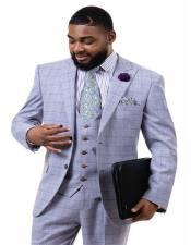 J Samuel Mens Purple Plaid Wide Leg Vested Suit