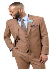 J Samuel Mens Brown Plaid Wide Leg Vested Suit