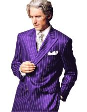 Chalk Pinstripe Stripe 1920s 1950s Style Fashion Clothing Jacket Double Breasted Suit Purple