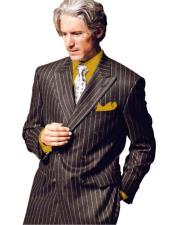 Chalk Pinstripe Stripe 1920s 1950s Style Fashion Clothing Jacket Double Breasted Suit Dark Gold