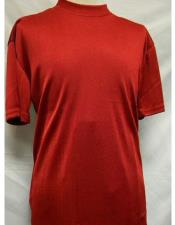 Red Mock Neck Short Sleeve Poly/Rayon Shirts