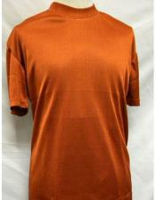 Sleeve  Rust Mock Neck Shirts For Mens