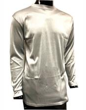 Long Sleeve Shiny Stripe Material Mock Neck Shirts For Mens