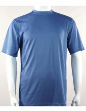 Blue Mock Neck Short Sleeve Shirts