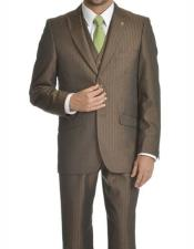 Adams Mens Brown Single Breasted Peak Lapel Suit Suit
