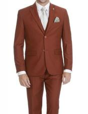 Adams Mens Rust Single Breasted Two Button Suit