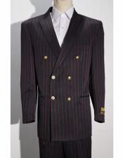 Mens Double Breasted Suits Black ~ Red Button Closure Striped ~ Pinstripe