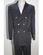 Mens Double Breasted Suits Jacket Blazer Sport With Brass Gold Buttons Coat