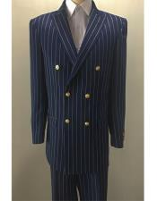 Mens Double Breasted Suits Jacket Blazer Sport Coat With Brass Gold Buttons
