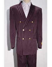 Burgundy/White Pinstripe Six Button Mens Double Breasted Suits Jacket Blazer Sport Coat