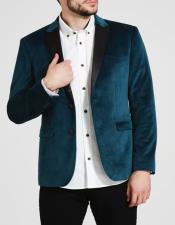 Teal Blue Velvet Tuxedo Jacket