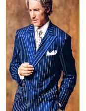 Mens Double Breasted Chalk Pinstripe Striped Gangster Suit Royal Blue and