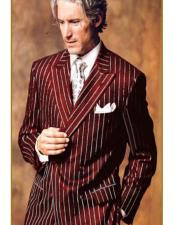 Mens Double Breasted Chalk Pinstripe Striped Gangster Burgundy Suit