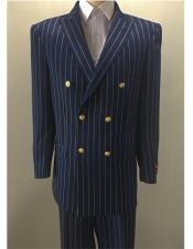 ~ Gold Mens Pinstripe Mens Double Breasted Suits Jacket Blazer