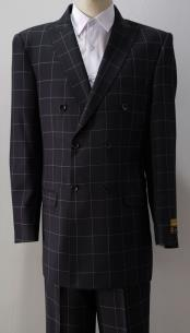 Double Breasted Suits Black Plaid Window Pane Wool Fabric