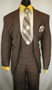 Mens Checkered Suit  Brown ~ Plaid Design Suit Jacket