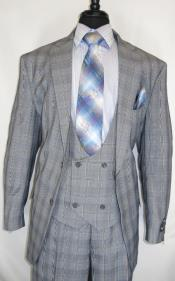 Mens Suit  Grey ~ Plaid Design Checkered Suit Jacket