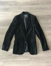 Paisley Black Velvet Fabric Patterned Texture Jacket