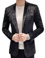 Paisley Black Velvet Fabric Patterned Texture velour  Jacket