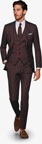 Mens Black and Red Pinstripe Gatsby Vintage Suit For Sale