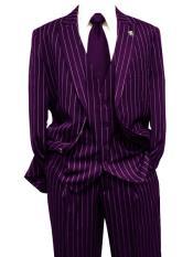 Dark Purple Gangster Bold PinStripe Mars Vested 3 Piece Fashion Suit