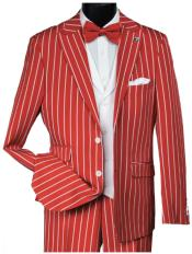 Red Gangster Bold PinStripe Mars Vested 3 Piece Fashion Suit Pleated