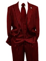 Dark Red Gangster Bold PinStripe Mars Vested 3 Piece Fashion Suit