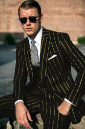 For Pre order for Jan/1//2021 Mens Black and Gold Pinstripe Suit