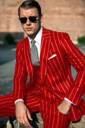 Breasted Red White Pinstripe