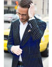 Two Button Single Breasted Black and Bold White Pinstripe Blazer