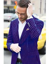 Mens Dark Purple and White Pinstripe Blazer On Sale