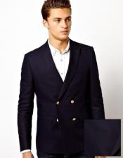 Four Button Solid Navy Mens Double Breasted Suits Jacket Wool Blazer