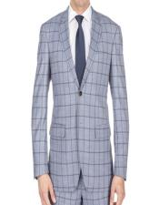 Single Breasted Window Pane Slim Fitted Grey Checkered Suit