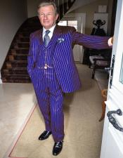 Mens Purple and White Pinstripe Vintage Suit For Sale