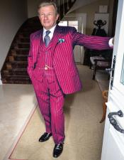 Mens Burgundy and White Pinstripe Gatsby Mobster Vintage Suit